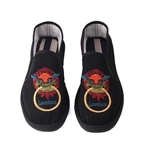 LvYuan Los zapatos tradicionales chinos unisex del paño / retro ocasional respiran los zapatos del bordado / los zapatos de Kung Fu / los artes marciales / deslizan-en los zapatos 4#