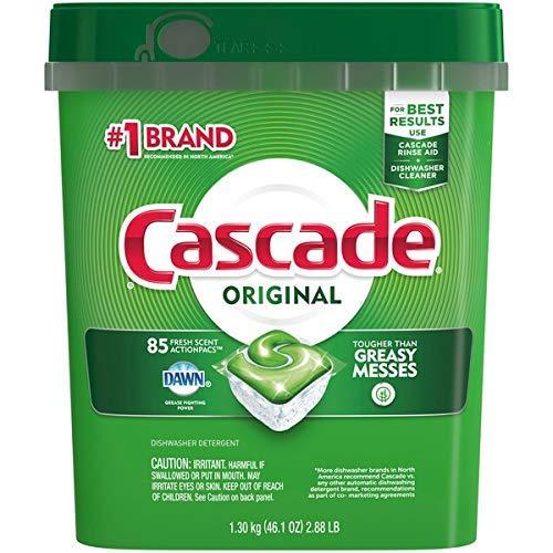 Cascade Dishwasher Detergent, Fresh Scent, 85 Count 2 Tubs