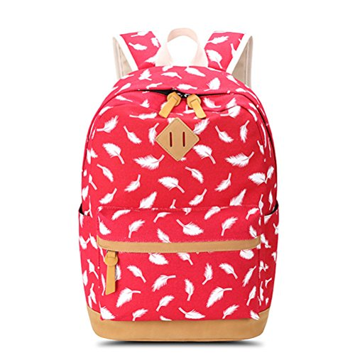 Bag dark School Laptop Women Red For Backpack Feather Teenagers blue Female Printing Rucksack Travel Bag Winnerbag Canvas Backpack pxBzwqZF