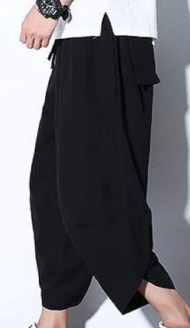 Etecredpow Mens Breathable Chinese Style Casual Summer Cotton Linen Capri Pants