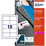 Avery 200 Badges Autocollants en Tissu - 80x50mm - Impression Laser - Blanc (L4785)
