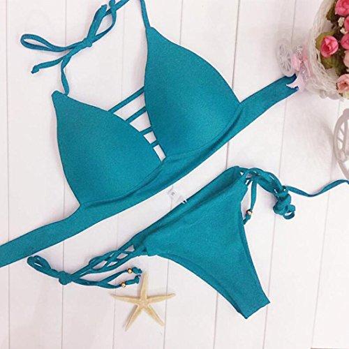 Costume Reggiseno Estate Solido Blu Bikini Donne Brasiliano Up imbottito Costumi Costume Cielo bagno Push Bottom Mare da Donna Sexy bagno Beachwear da Costumi LiucheHD Halter Mare x48gqfUwA