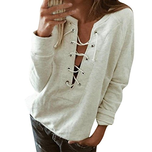 Clearance! Women Autumn Sexy V-neck Lace-up Solid Sweatshirt Casual Long Sleeve Henley Tops Ladies Blouse (XL, White)