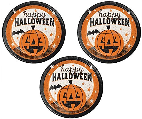 Halloween Paper Plates Dessert Appetizer Cocktail Party Supplies 24 Count features HAPPY HALLOWEEN ()