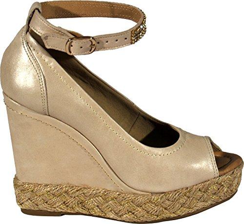 Bruno Menegatti 11326334 Sandale En Cuir Compensée Plate-forme Pour Femmes Avec Des Ornements Naturels