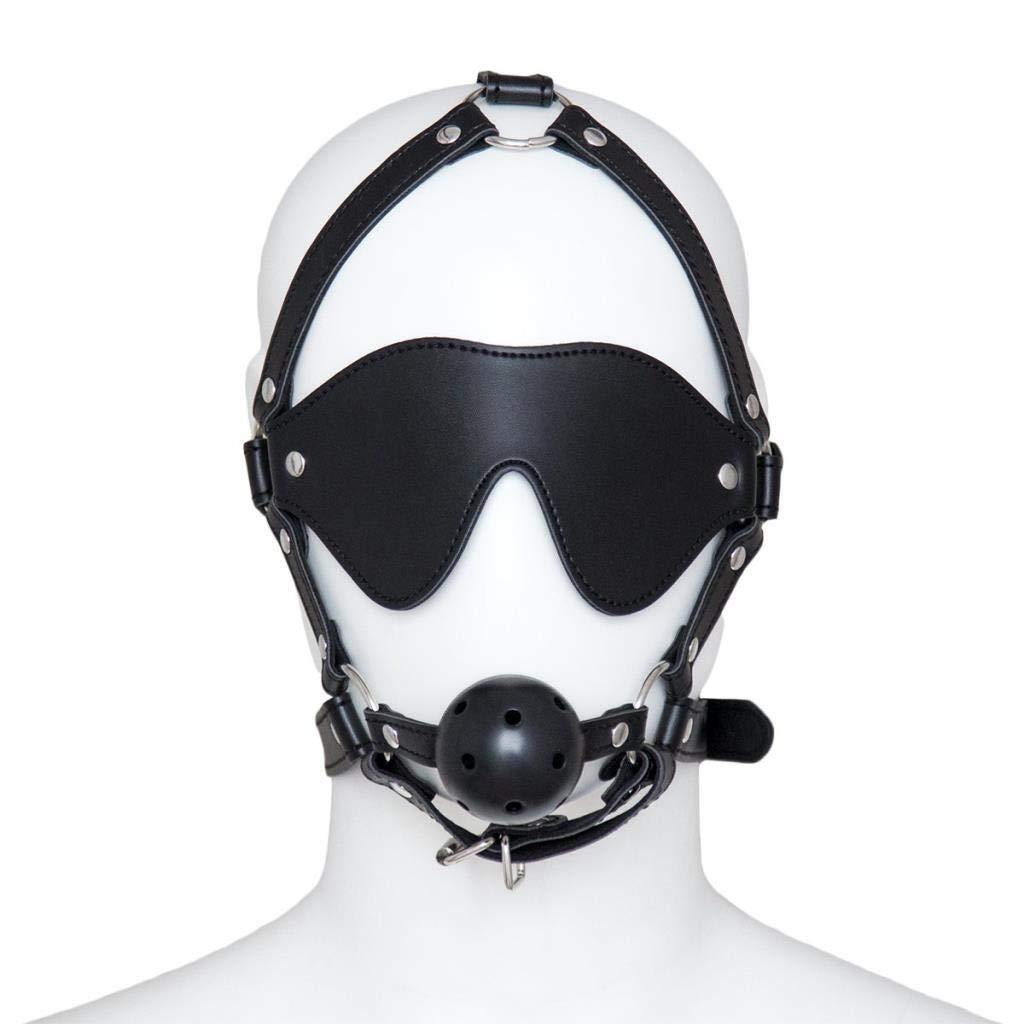 SHWSM Sex Ball Gag Blindfold Leather Head Harness Mask Restraint Bondage Fetish Slave 13,Black (Color : Dark Black) by SHWSM Sex