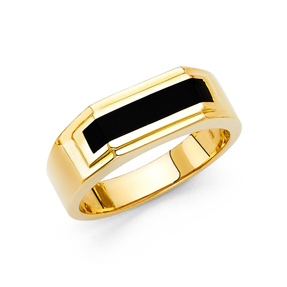 Ioka Jewelry - 14K Yellow Solid Gold 7MM Black Onyx Men's Ring - size 13