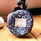 Allywit Floral Fabric Circular Zipper Coin Purse Wallets Admission Package (Dark Blue)