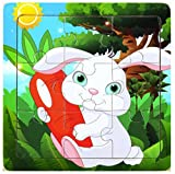 Layhome Puzzle 9 Pieces Wooden Animal Puzzle Jigsaw Baby Kids Toy (Rabbit)