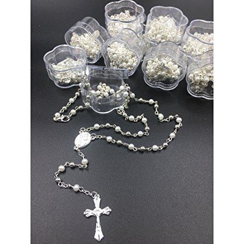 (12) PCS - Baptism, First Communion Rosary Favor White Pearl Recuerdos para Primera Comunion Niña Niño