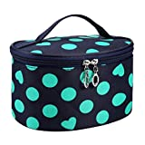 Clearance! Polka Dots Series Large Makeup Bag Organizer Portable Toiletry Bag Cosmetic Travel Case With Mirror (Green)