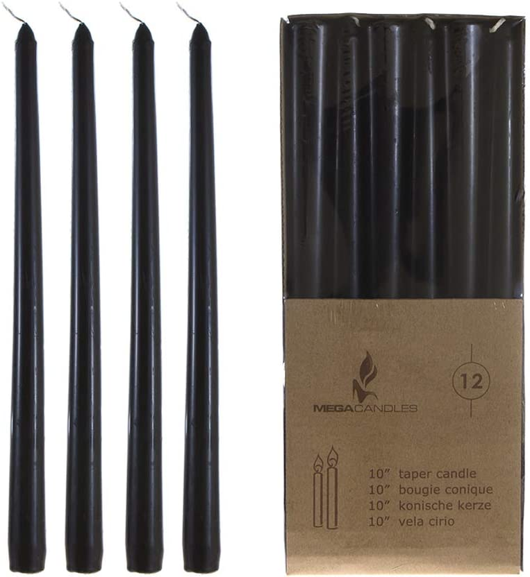 Baby Showers Home Decoration Celebrations Aottom 12 Pack 10 Inch Tall Taper Candles Black Dripless Candles Unscented Dinner Candles Paraffin Wax 8 Hour Burn Time for Party Birthdays Wedding