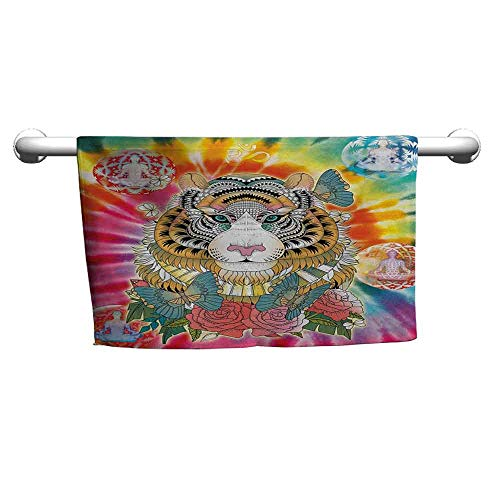 duommhome Animal Quick Dry Towel Tiger Head with Ornaments Butterflies and Roses Human Figures Lotus Position Globes W10 x L39 Multicolor