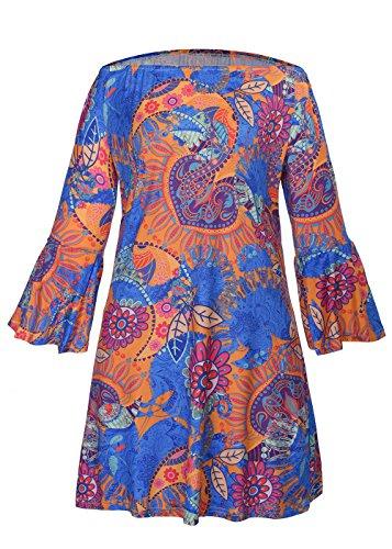 Atractivo de las mujeres del verano sin tirantes del cuello del barco de época impresión tribal mini vestido Multicolor