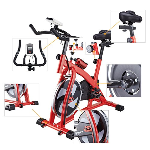 Pinty Pro Stationary Upright Exercise Bike Indoor Cycling Gym Cardio Trainer with LCD Monitor & Water Bottle (Red)