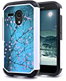 Moto G Case, NageBee - Heavy Duty Defender Dual Layer Protector Hybrid Phone Case for Motorola Moto G 1st Generation (Hybrid Plum Blossom)
