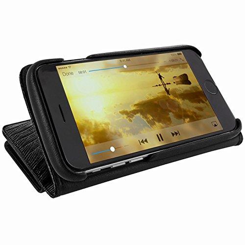 Piel Frama U716LA WalletMagnum Coque pour iPhone 6 Lézard Noir