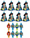 New Disney Pixar Toy Story Birthday Party Favors Pack Including Blowouts - and Party Cone Hats - 8 Guests