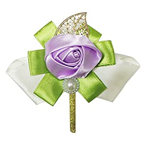 Abbie Home Silk Rose Boutonniere with Bow for Prom Party Flower Pin (2, Lavender) 92