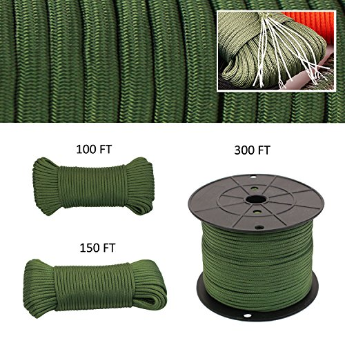 Geelife 640lb Parachute Cord Survival Utility 9 Strands Core 4mm Commercial Grade Paracord (Foliage Green, 100 ft)