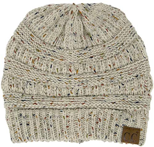 Cable Knit Winter Hat - Funky Junque H-6033-67 Confetti Knit Beanie - Oatmeal (Dark)