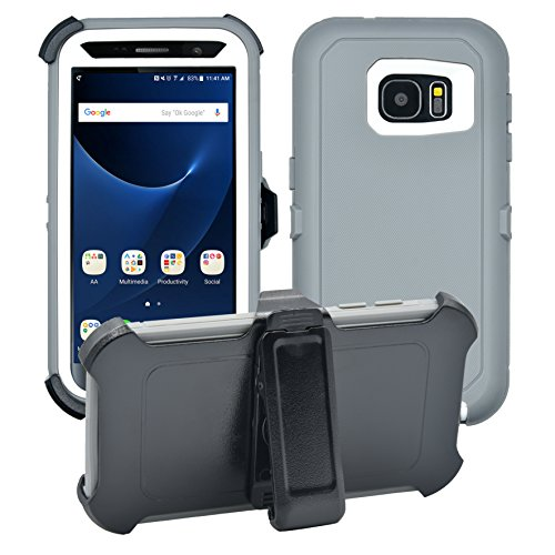 - Samsung Galaxy S7 Cover | 2-in-1 Screen Protector & Holster Case | Full Body Military Grade Edge-to-Edge Protection with carrying belt clip| Drop Proof Shockproof Dustproof | Grey / White