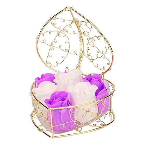 Yu2d  Random Heart Scented Bath Body Petal Rose Flower Soap Wedding Decoration (Purple) -