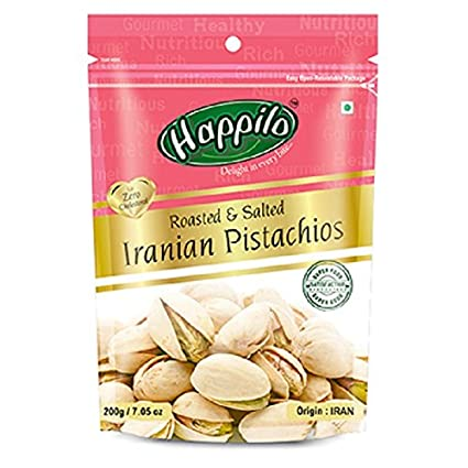 Happilo Premium Iranian Roasted and Salted Pistachios, 200g (Pack of 5)