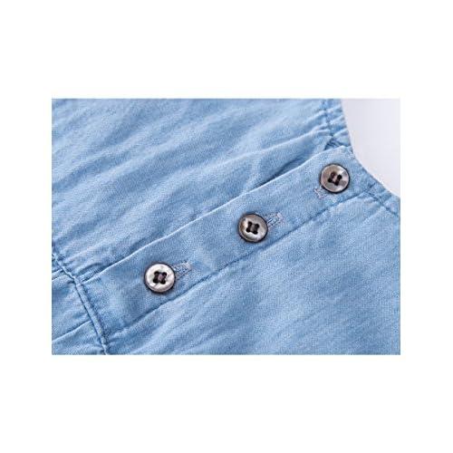 1ea9fb22624d HeMa Island Baby Girl Light Blue Soft Denim Jeans Floral Onesie Jumpsuit  Romper Summer Clothes Sets