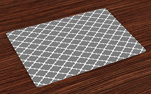Four Placemats - Ambesonne Grey Place Mats Set of 4, Quatrefoil Pattern Barbed Design Geometric Leaf Print Lattice Country Life Inspired, Washable Fabric Placemats for Dining Room Kitchen Table Decor, Gray White