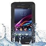 LOVE MEI Metal Ultra-thin Waterproof Rain Resistant + Dropproof + Shockproof + Dustproof Protective Case for Sony Xperia Z2 / L50w (Black)