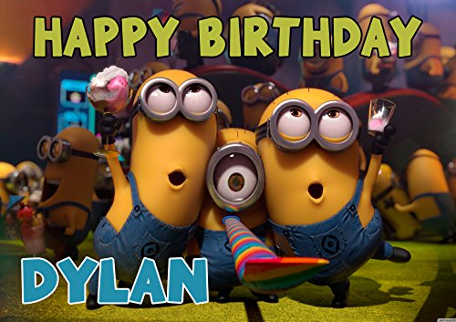 Despicable Minions Birthday Cake Personalized Cake Toppers Edible Frosting Photo Icing Sugar Paper A4 Sheet 1/4 MNT12 ()