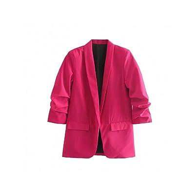 ZHUANG Traje Blazer Marchito 2019 Estilo Femenino De Inglaterra Bolsillos Sólidos Blazer Plisado Femme Mujer Blazers Y Chaquetas 0611: Ropa y accesorios