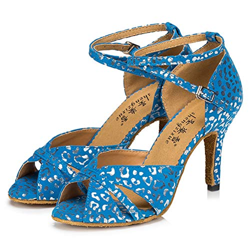 Silver Printed Glitter Heel Adult Ladies Soft Bottom high-Heeled Latin Dance Shoes,Blue(Heel:8.5cm),40EU