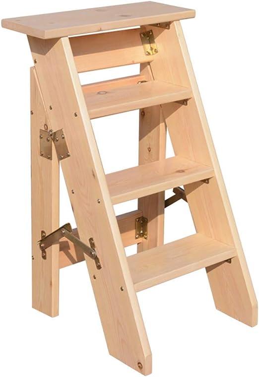 Taburete con peldaño Escalera de madera Taburete Multifunción Plegable 4/5 escalones Tablero de madera gruesa Biblioteca doméstica (150 kg de capacidad) (Color natural) (Tamaño: 4 escalones)4 steps: Amazon.es: Hogar