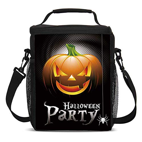 Halloween Fashionable Lunch Bag,Halloween Party Theme Scary Pumpkin on Abstract Modern Backdrop Spider Decorative for Travel Picnic,One size]()