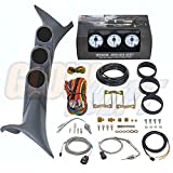 GlowShift Diesel Gauge Package for 1999-2007 Ford Superduty Gray + White 7 Color 60 PSI Boost, 2400 EGT & Trans Temp Gauges