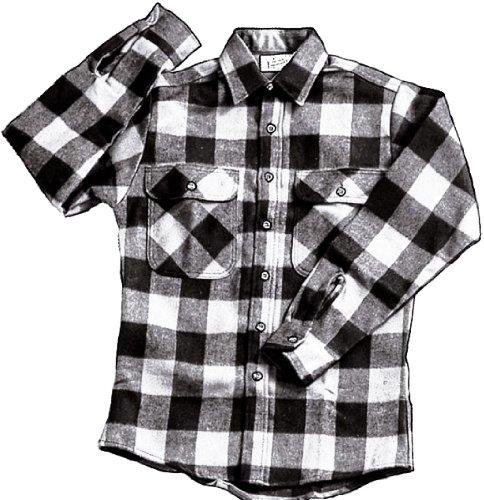 Extra Heavyweight Brawny Plaid Flannel Shirt (Small, White/Black) ()