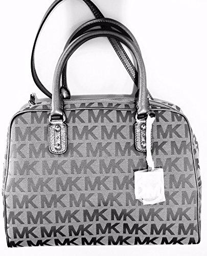 MICHAEL Michael Kors MK Signature Large Satchel Bag, Ice/Slat/Gun by MICHAEL Michael Kors
