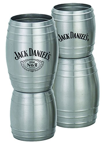 [Jack Daniel's Old No. 7 Brand Stainless Steel Barrel Double Jigger - 1oz/2oz, 3.625