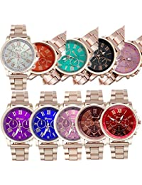 10 Pack Womens Mens Gold Steel Watch Watches Unisex Quartz Wristwatches Wholesales