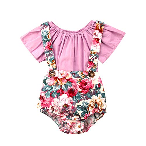 (Infant Newborn Baby Girl Floral Romper Jumpsuits Short Sleeve Ruffle T-Shirt Tops Short Pant Outfits Set Pink)