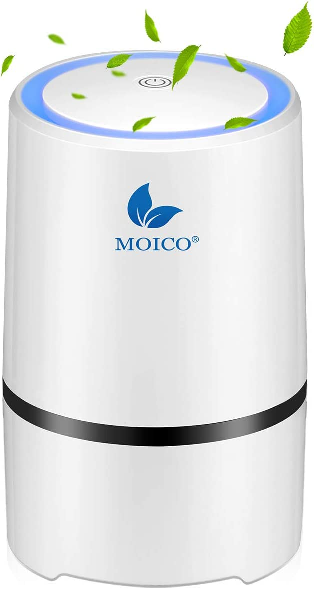 Air Purifier, MOICO Air Purifiers for Home and Office with True HEPA Filter Active Carbon, USB Desktop Portable Air Cleaner with Night Light, 2 Filtering Modes for Reducing Dust Smoke Smell Pet Dander
