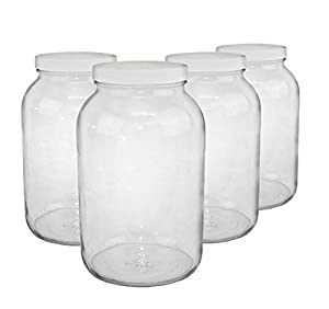 North Mountain Supply 1 Gallon Glass Wide-Mouth Fermentation/Canning Jar With 110mm White Plastic Lids - Case of 4