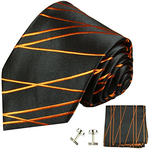 Black and Orange Silk Necktie Set by Paul (Orange Pattern Tie)