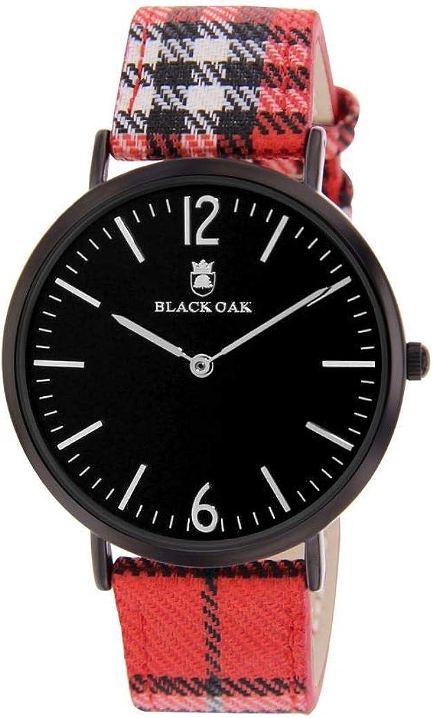 Reloj Black Oak de Tela para Hombre, Color Rojo