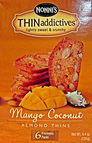 Nonni's Thin Addictives Mango Coconut Almond Thins 6 pkgs ( 3 Pack)