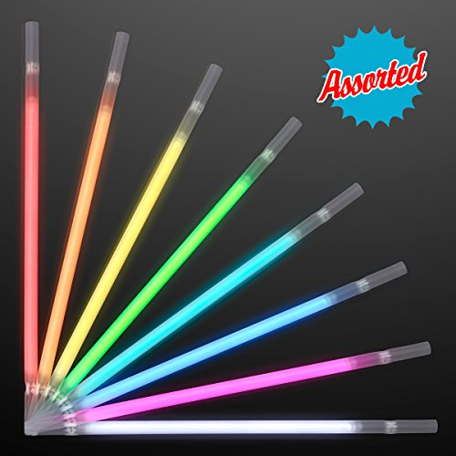 Assorted Color Glow Stick Drinking Straws (Set of 25) (Glow Drink)