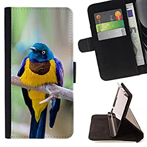 Ihec-Tech / Negro Flip PU Cuero Cover Case para Samsung Galaxy S6 EDGE - Direction générale des plumes Golden Bird