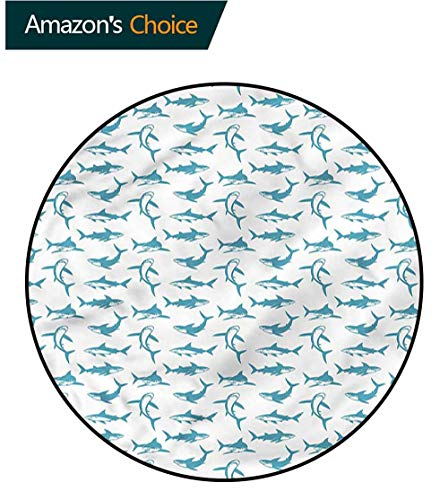 Shark Round Area Rug,Scary Predators with Fins Perfect for Any Room, Floor Carpet Diameter-31]()